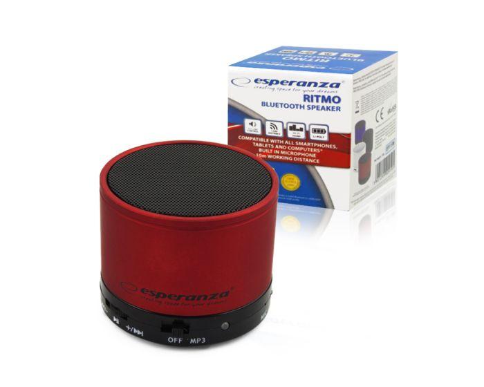 Esperanza Ritmo Bluetooth Mini Speaker Φορητό Ηχείο 3W Dark Red