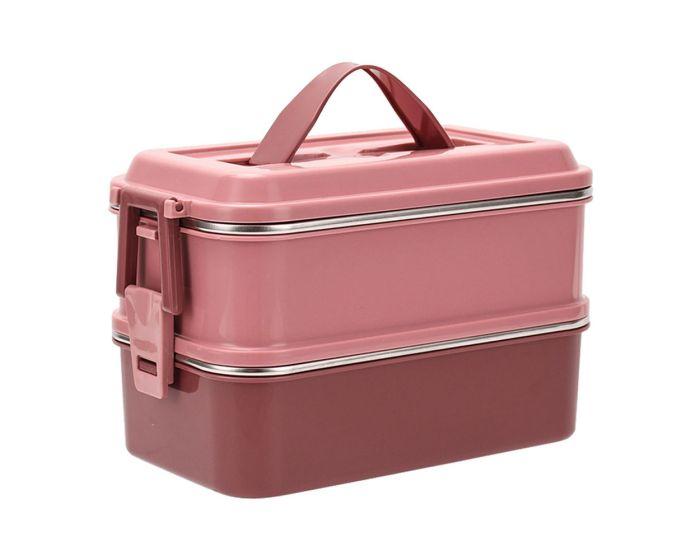 Estia Φαγητοδοχείο 2 Επιπέδων 1400ml με Ισοθερμική Θήκη - Ροζ