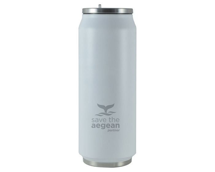 Estia Travel Cup Save The Aegean Stainless Steel 500ml Ισοθερμικό Ποτήρι - White