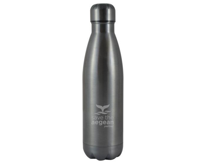Estia Travel Flask Save The Aegean (01-8994) Stainless Steel Bottle 500ml Θερμός - Nickel Black