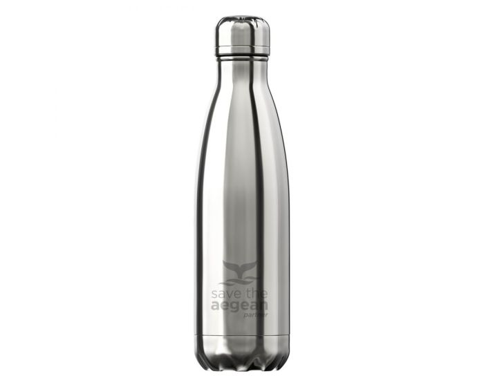 Estia Travel Flask Save The Aegean (01-9021) Stainless Steel Bottle 500ml Θερμός - Nickel Silver