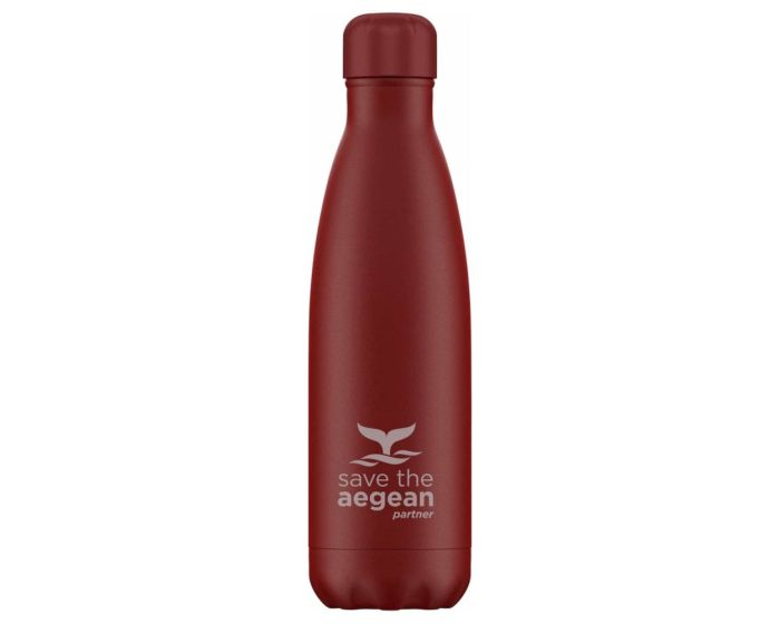Estia Travel Flask Save The Aegean (01-8543) Stainless Steel Bottle 500ml Θερμός - Red Matte