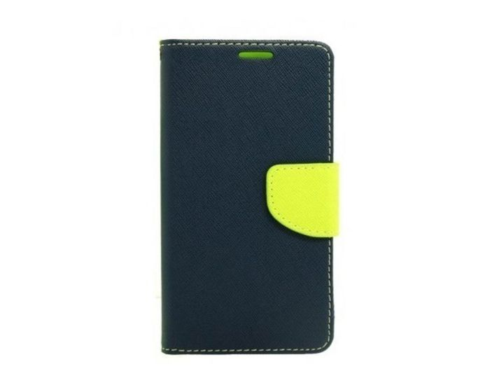 Tel1 Fancy Diary Case Θήκη Πορτοφόλι με δυνατότητα Stand Navy / Lime (Lenovo Vibe X3)