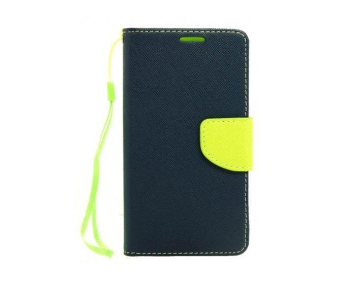 Tel1 Fancy Diary Case Θήκη Πορτοφόλι με δυνατότητα Stand Navy / Lime (Lenovo Vibe S1)