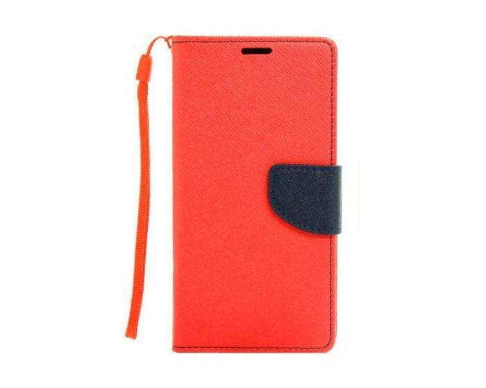 Tel1 Fancy Diary Case Θήκη Πορτοφόλι με δυνατότητα Stand Red / Navy (Lenovo Vibe S1)