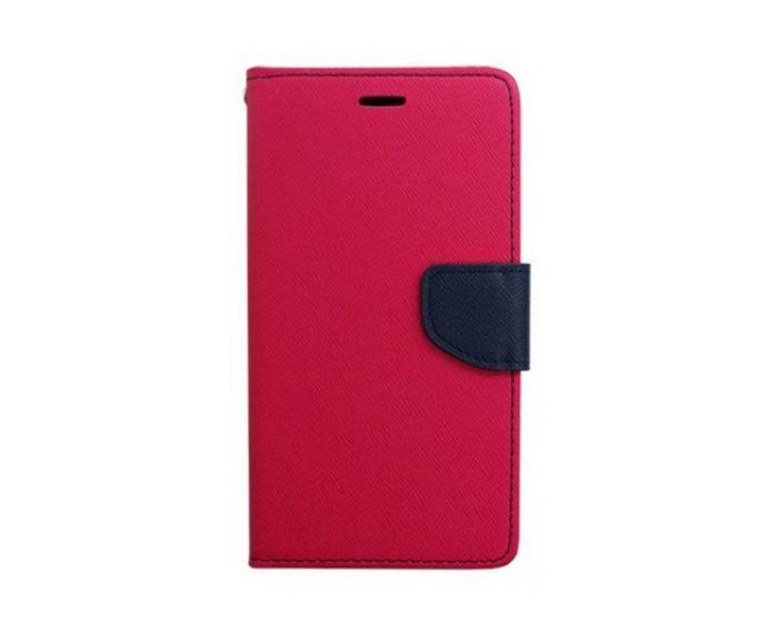 Tel1 Fancy Diary Θήκη Πορτοφόλι με δυνατότητα Stand Pink / Navy (Huawei Ascend G8)