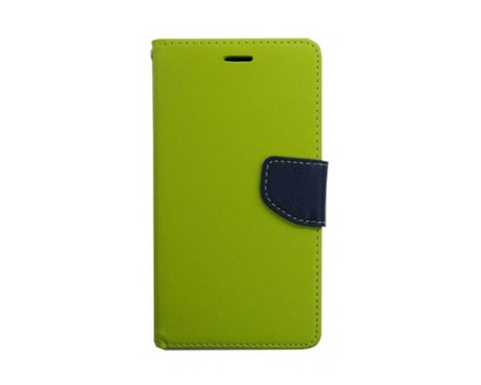 Tel1 Fancy Diary Θήκη Πορτοφόλι με δυνατότητα Stand Lime / Navy (Huawei Honor 7i / Huawei Shot X)