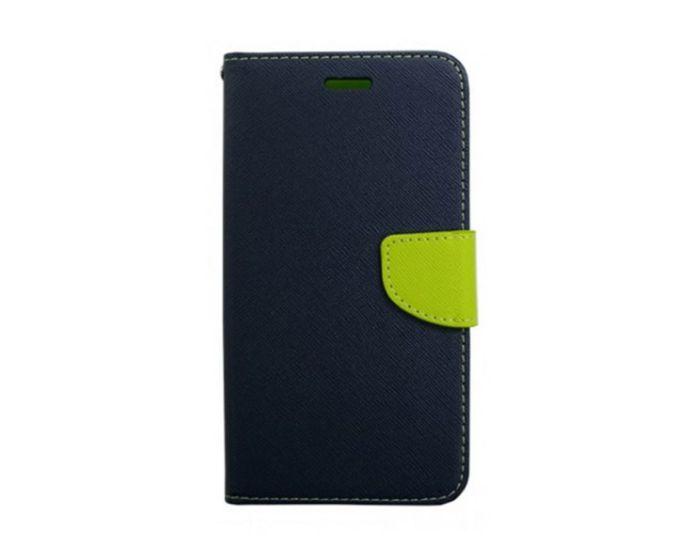 Tel1 Fancy Diary Θήκη Πορτοφόλι με δυνατότητα Stand Navy / Lime (Huawei Honor 7i / Huawei Shot X)