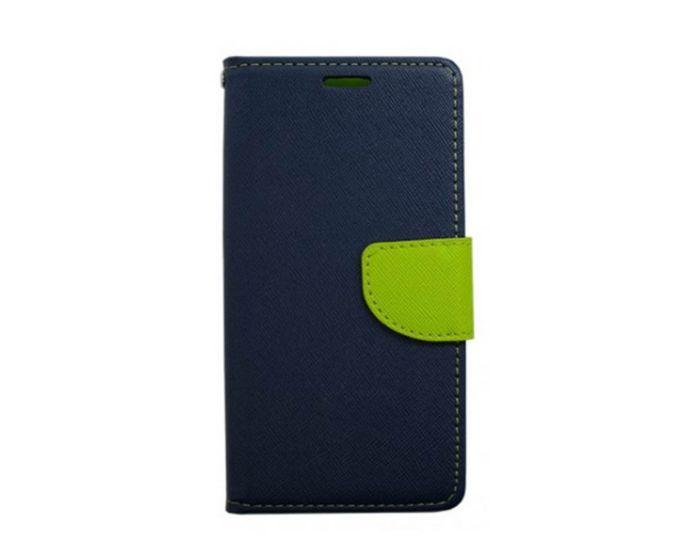Tel1 Fancy Diary Θήκη Πορτοφόλι με δυνατότητα Stand Navy / Lime (LG K4)