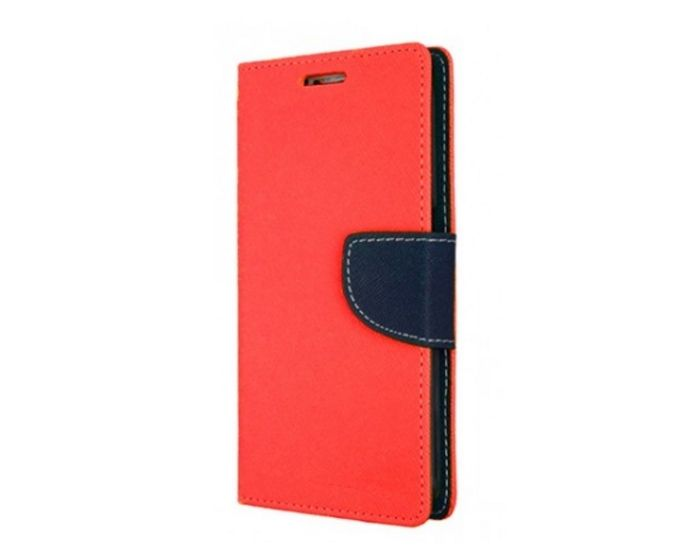 Tel1 Fancy Diary Case Θήκη Πορτοφόλι με δυνατότητα Stand Red / Navy (HTC U Play)