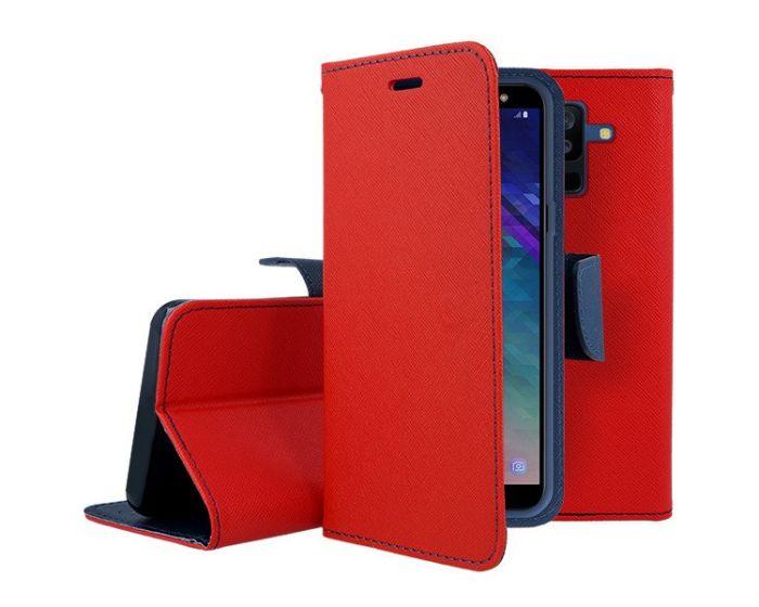 Tel1 Fancy Diary Θήκη Πορτοφόλι με δυνατότητα Stand Red / Navy (Samsung Galaxy A6 Plus 2018)