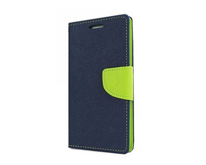 Tel1 Fancy Diary Θήκη Πορτοφόλι με δυνατότητα Stand Navy / Lime (Huawei Mate 10 Lite)