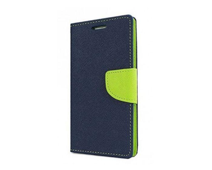 Tel1 Fancy Diary Case Θήκη Πορτοφόλι με δυνατότητα Stand Navy Blue / Lime (Motorola Moto C)