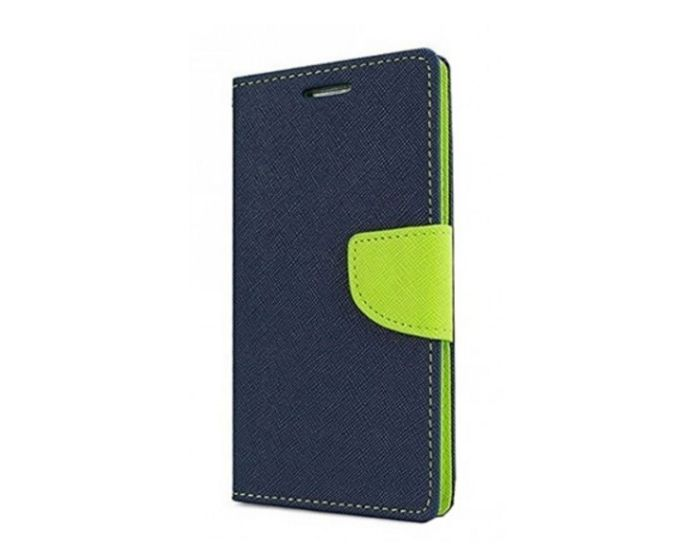 Tel1 Fancy Diary Case Θήκη Πορτοφόλι με δυνατότητα Stand Navy / Lime (Lenovo Vibe P2)