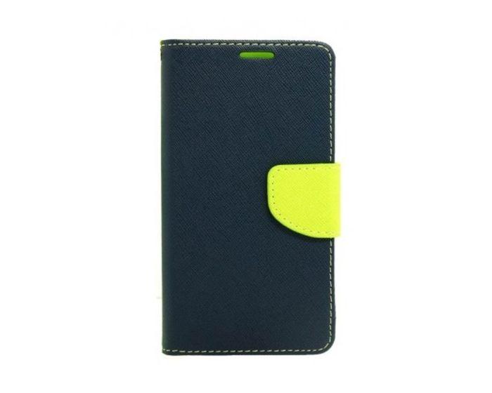 Tel1 Fancy Diary Case Θήκη Πορτοφόλι με δυνατότητα Stand Navy / Lime (Huawei Nova Plus)