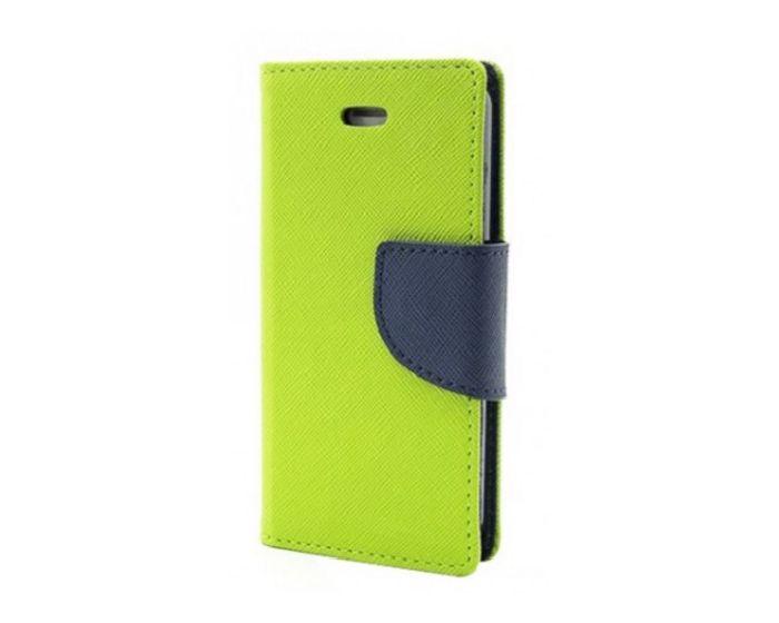 Tel1 Fancy Diary Case Θήκη Πορτοφόλι με δυνατότητα Stand Lime / Navy (Lenovo Vibe B)