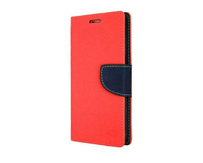 Tel1 Fancy Diary Case Θήκη Πορτοφόλι με δυνατότητα Stand Red / Navy Blue (Huawei Honor 9)