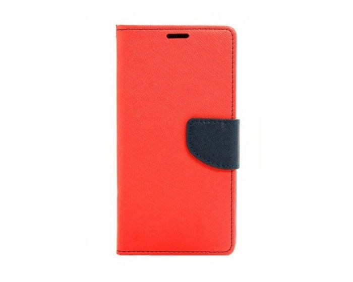 Tel1 Fancy Diary Θήκη Πορτοφόλι με δυνατότητα Stand Red / Navy (Huawei Nova Plus)