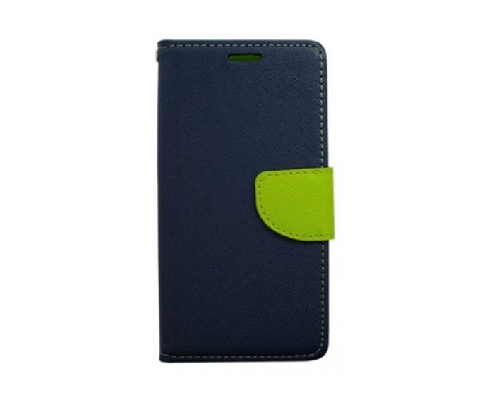 Tel1 Fancy Diary Θήκη Πορτοφόλι με δυνατότητα Stand Navy / Lime (Sony Xperia X Performance)