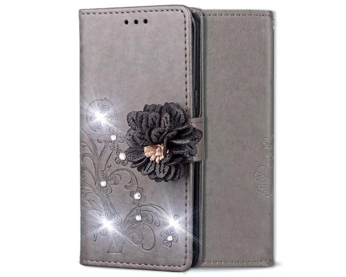 Fashion Flower Wallet Case Θήκη Πορτοφόλι με Δυνατότητα Stand - Grey Flower (Xiaomi Redmi Note 6 Pro)