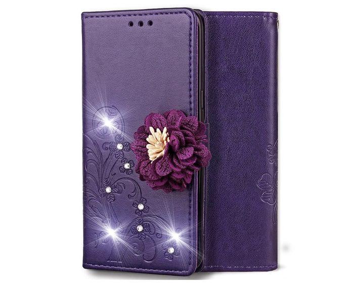 Fashion Flower Wallet Case Θήκη Πορτοφόλι με Δυνατότητα Stand - Purple Flower (Xiaomi Redmi Note 6 Pro)