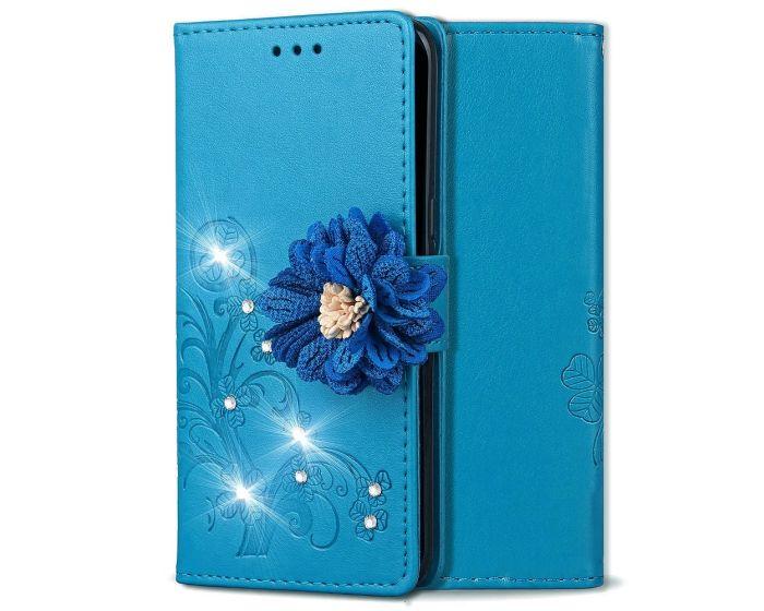 Fashion Flower Wallet Case Θήκη Πορτοφόλι με Δυνατότητα Stand - Blue Flower (Xiaomi Redmi Note 6 Pro)