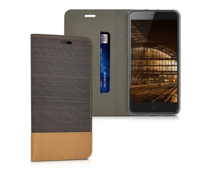 KWmobile Canvas Wallet Case (38683.73) Θήκη Πορτοφόλι με δυνατότητα Stand Dark Grey / Brown (ZTE Blade V7)