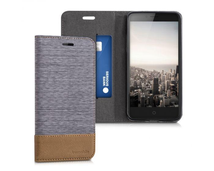 KWmobile Canvas Wallet Case (38683.25) Θήκη Πορτοφόλι με δυνατότητα Stand Grey / Brown (ZTE Blade V7)