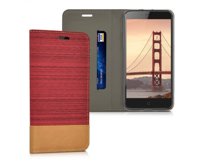 KWmobile Canvas Wallet Case (38683.20) Θήκη Πορτοφόλι με δυνατότητα Stand Red / Brown (ZTE Blade V7)