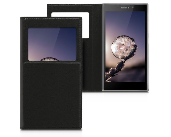 KWmobile S View Window Preview Flip Case Stand (44287.01) Black (Sony Xperia L2)