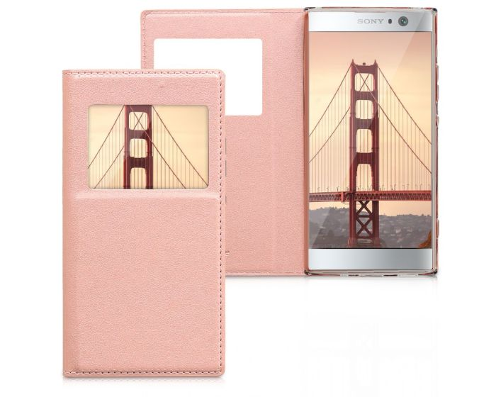 KWmobile S View Window Preview Flip Case Stand (44296.81) Rose Gold (Sony Xperia XA2)