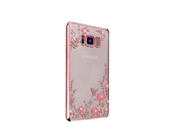 Forcell Strass TPU Case Diamond Garden - Θήκη σιλικόνης με Στρας Rose Gold (Samsung Galaxy S8 Plus)