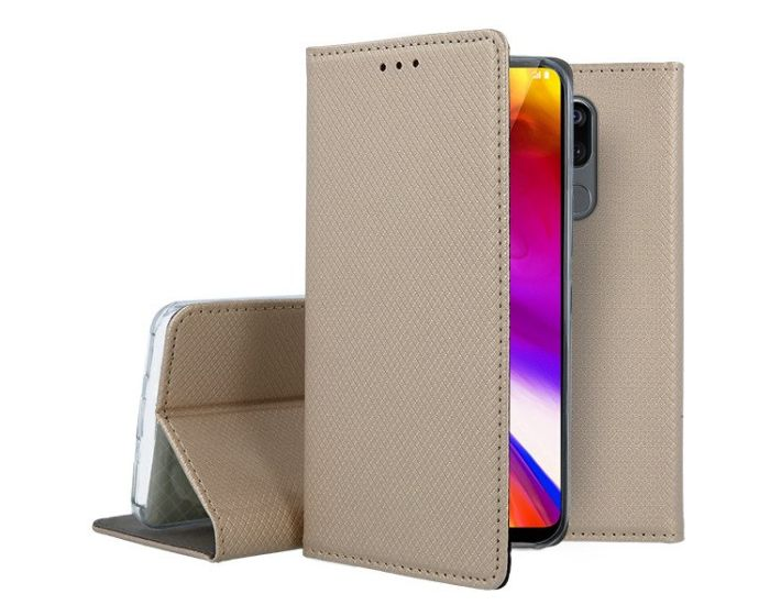Forcell Smart Book Case με Δυνατότητα Stand Θήκη Πορτοφόλι Gold (LG G7 ThinQ)