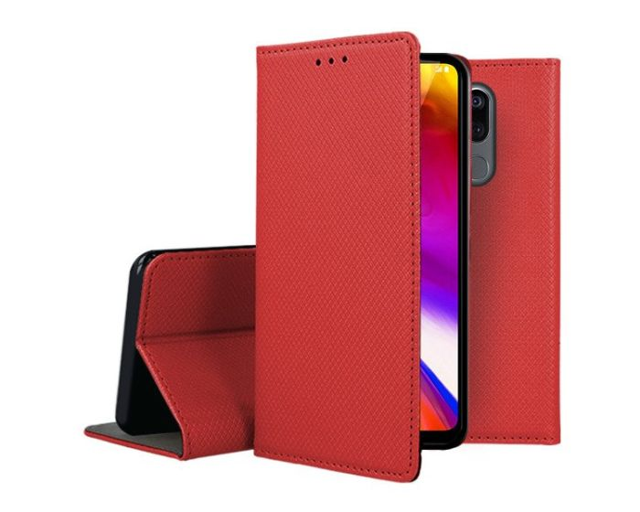 Forcell Smart Book Case με Δυνατότητα Stand Θήκη Πορτοφόλι Red (LG G7 ThinQ)