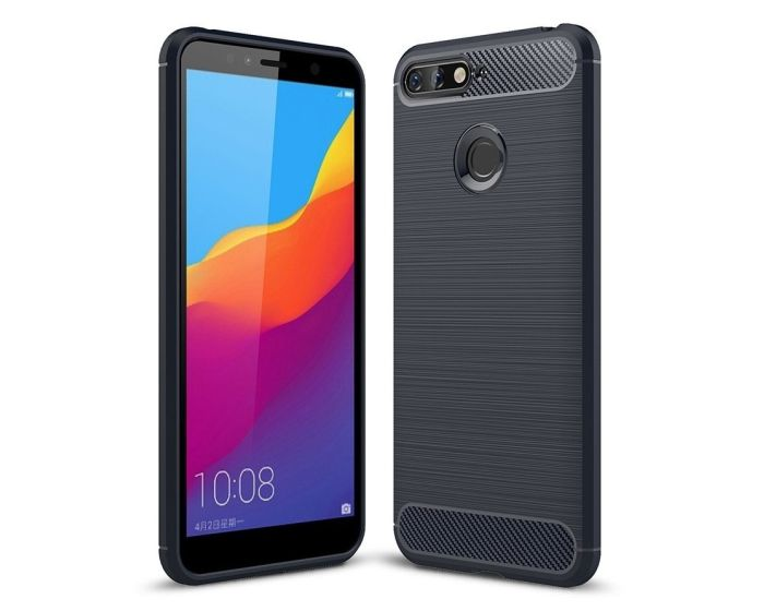 TPU Carbon Rugged Armor Case - Blue (Huawei Y7 Prime 2018)