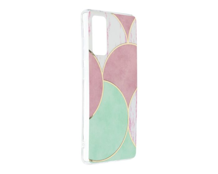 Forcell Cosmo Marble Silicone Case Design 05 Θήκη Σιλικόνης Pink / Green (Samsung Galaxy S20 FE)