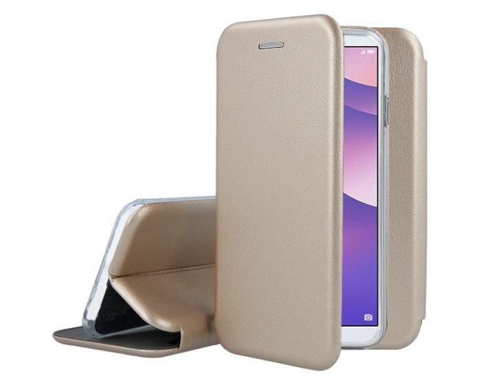 Forcell Elegance Book Case με Δυνατότητα Στήριξης -  Gold (Huawei Y6 Prime 2018)