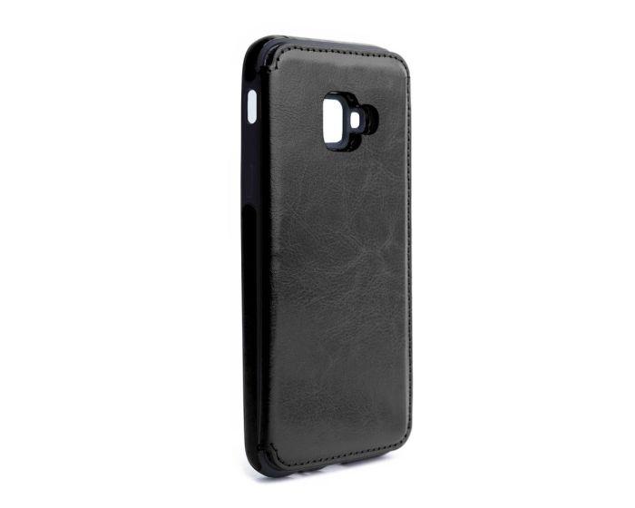 Forcell PU Leather Flip Back Wallet Case Θήκη Πορτοφόλι Black (Samsung Galaxy J4 Plus 2018)