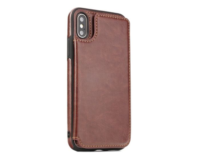 Forcell PU Leather Flip Back Wallet Case Θήκη Πορτοφόλι Brown (iPhone Xs Max)