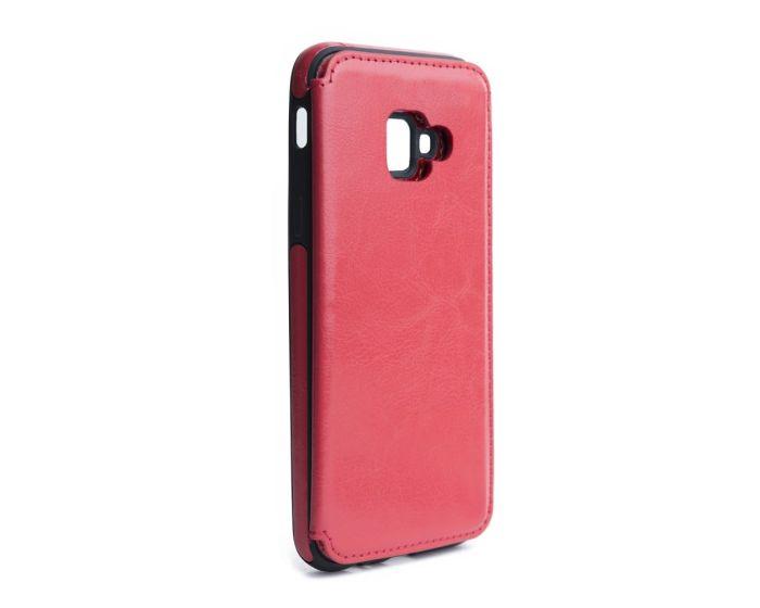 Forcell PU Leather Flip Back Wallet Case Θήκη Πορτοφόλι Red (Samsung Galaxy J4 Plus 2018)