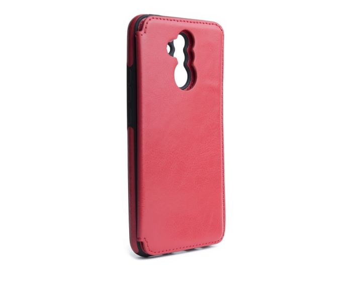 Forcell PU Leather Flip Back Wallet Case Θήκη Πορτοφόλι Red (Huawei Mate 20 Lite)