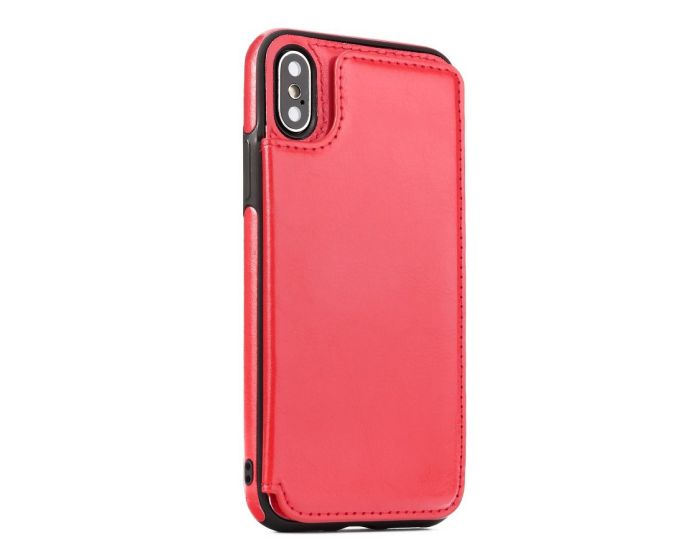 Forcell PU Leather Flip Back Wallet Case Θήκη Πορτοφόλι Red (iPhone Xs Max)