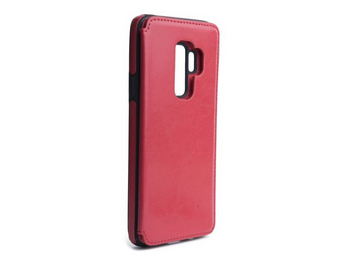 Forcell PU Leather Flip Back Wallet Case Θήκη Πορτοφόλι Red (Samsung Galaxy S9 Plus)