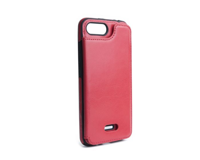 Forcell PU Leather Flip Back Wallet Case Θήκη Πορτοφόλι Red (Xiaomi Redmi 6)