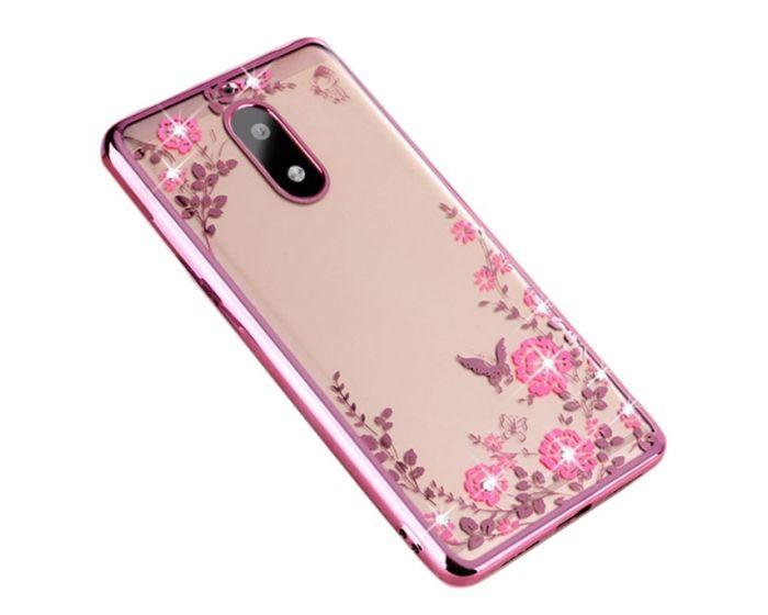 Forcell Strass TPU Case Diamond Garden - Θήκη σιλικόνης με Στρας Rose Gold (Nokia 6)