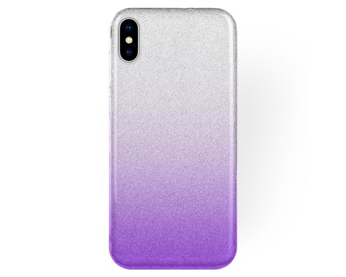 Forcell Glitter Shine Cover Hard Case Clear / Violet (iPhone Xs Max)