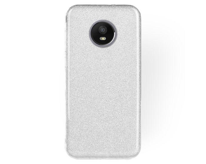 Forcell Glitter Shine Cover Hard Case Silver (Motorola Moto E4 Plus)