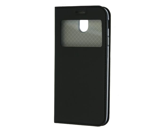 Forcell S View Window Preview Flip Case Stand - Black (Samsung Galaxy A8 Plus 2018)