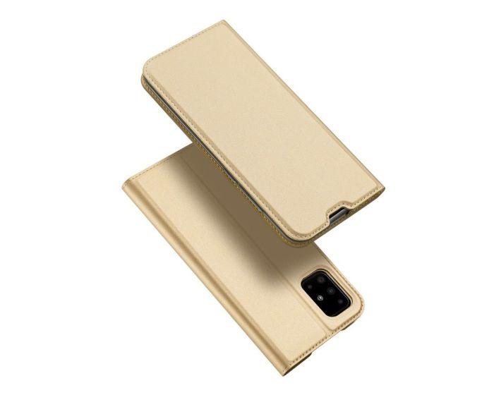 DUX DUCIS SkinPro Wallet Case Θήκη Πορτοφόλι με Stand - Gold (Samsung Galaxy A51)