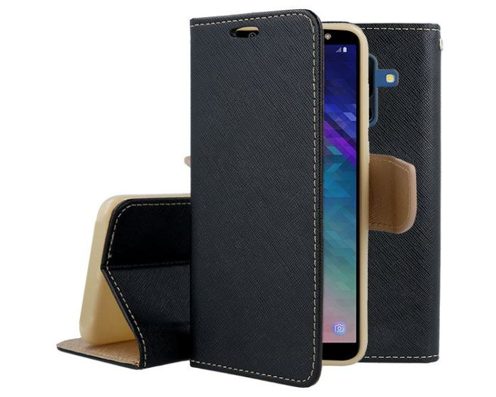 Tel1 Fancy Diary Θήκη Πορτοφόλι με δυνατότητα Stand Black / Gold (Samsung Galaxy A6 Plus 2018)